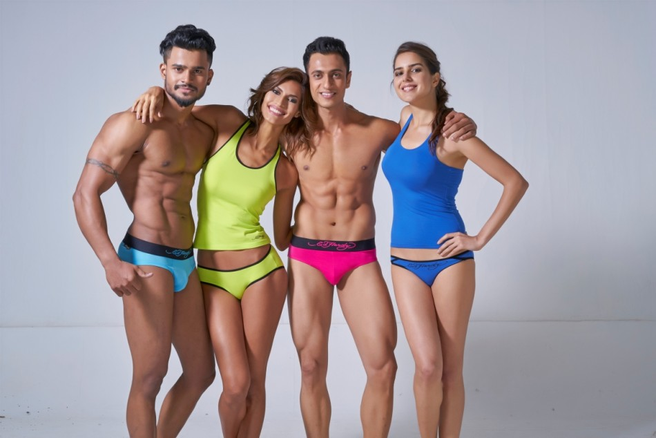 two men models and 2 women models in Ed hardy vest and brief ef974ff1a2