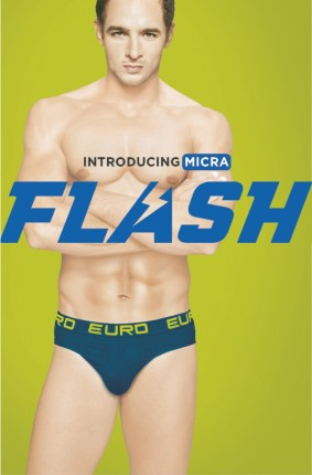 A Male Modal in Blue Underwear Introducing Micra Flash for Euro Fashion