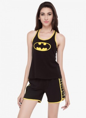 A girl in Batman Black Nightwear Soie Collection