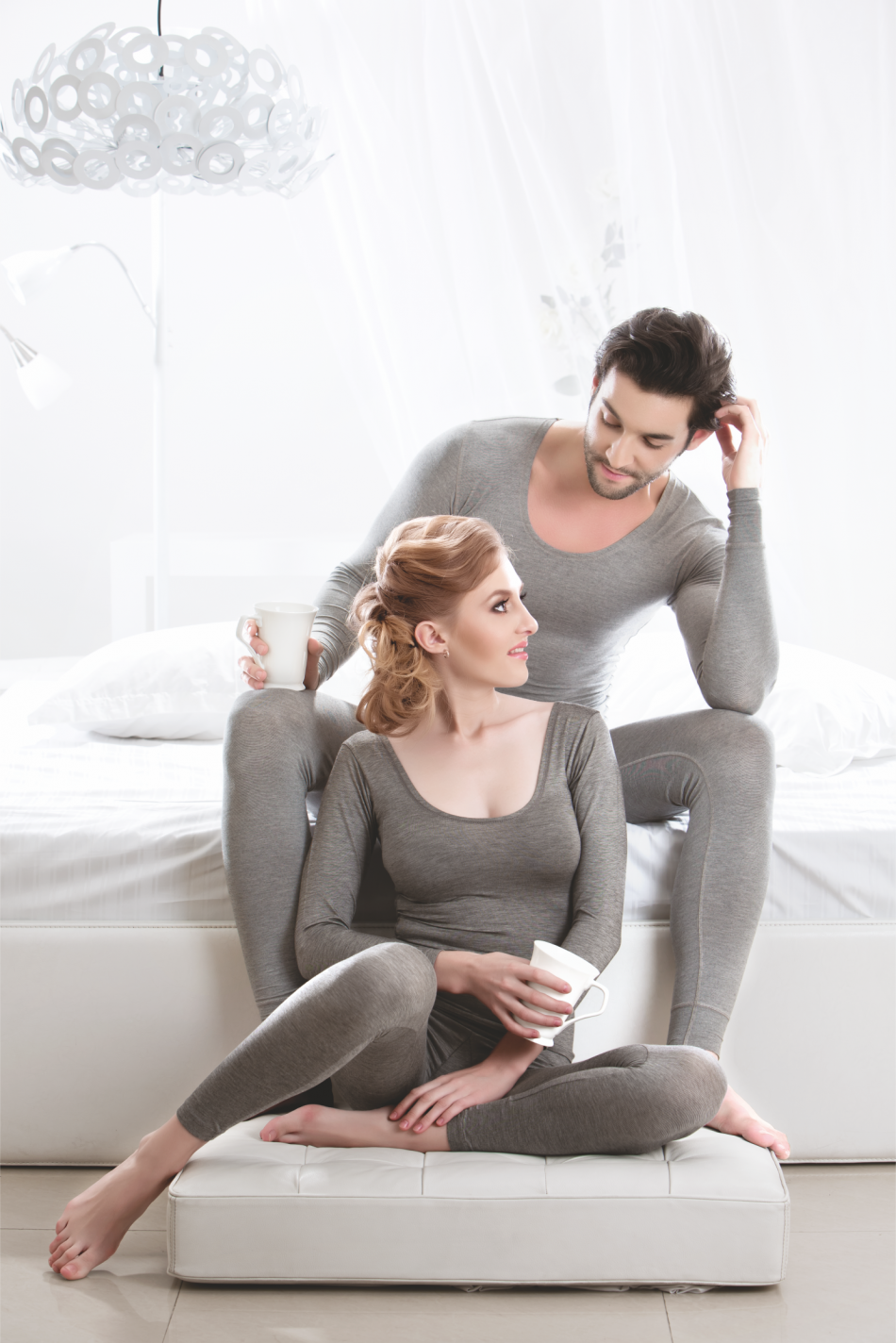 Couple in Grey Thermals Poses for Ayaki Indian Thermals Brand