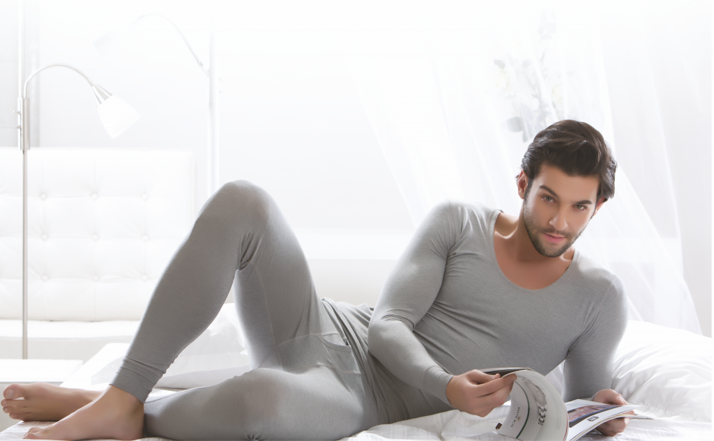 A Men in Grey Thermals poses for Ayaki Indian Thermals Brand