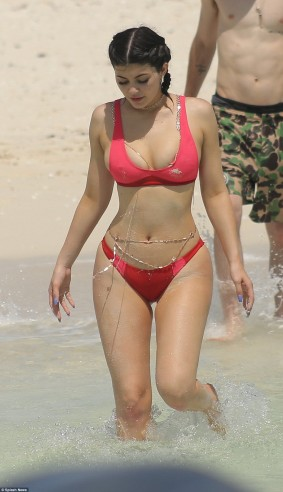 Kylie Jenner in red Bikini red Bra & Red Panties