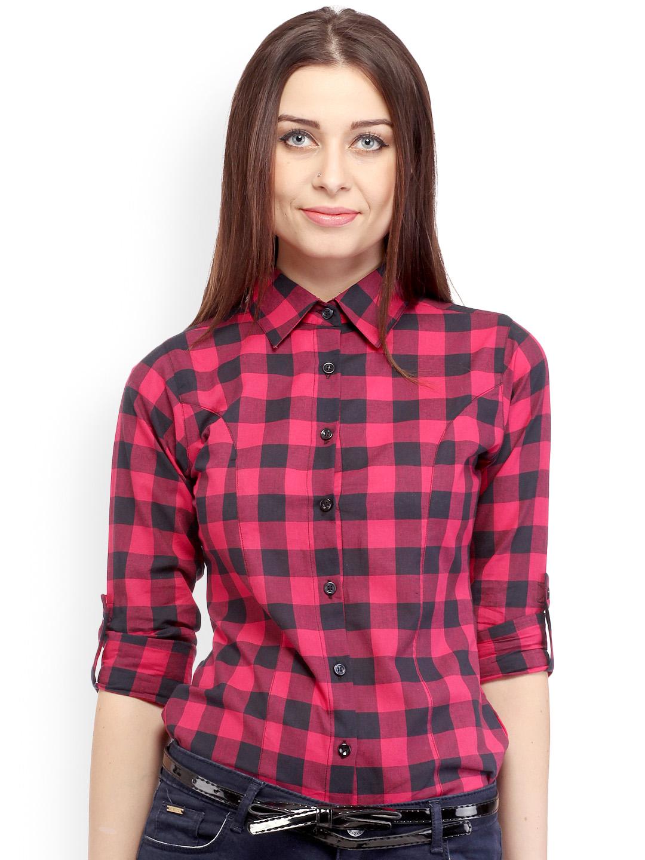 Pink & Black Check Shirts by Cation Women SHirts