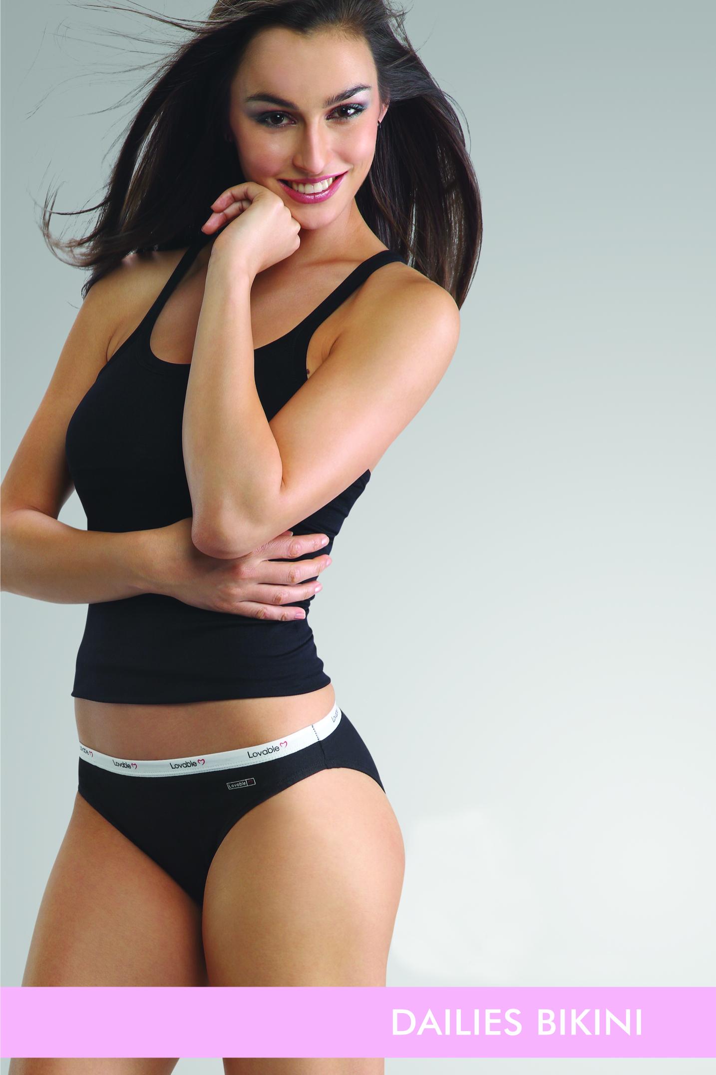 A Modal Weaing Black Slip and Black Panties of MRP Dailies Bikini