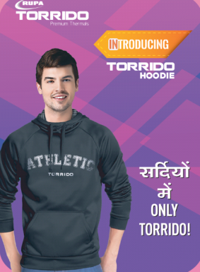 Newly introduced rupa Winter collection torrido Hoodies a model wearing Black athletic Torrido Hoodie