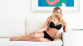 Carmen Electra in Black Bra and Black Panties posing for her own brand