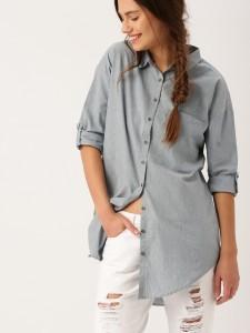 DRESSBERRY_Women_Grey_solid_shirt_dress