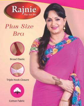 Rajnie Plus size bra 'broad elastic' 'triple hook closure''cotton fabric'
