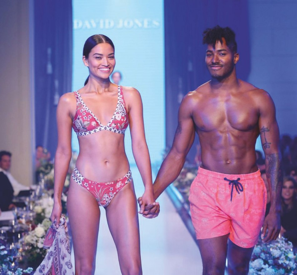 Shanina Shaik with boyfriend DJ Ruckus in swimwear fashion show at david jones show