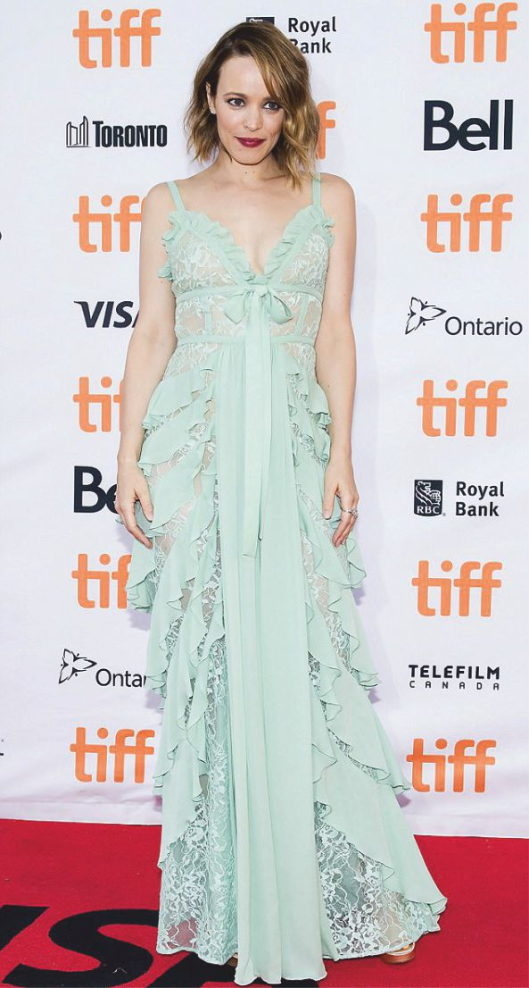 rachel mcadams stuns in mermaidcoloured lingerie style dress