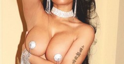 Nicki Minaj poses for topless snap with silver nipple pasties - 1