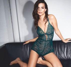 emily ratajkowski in sexy lace lingerie