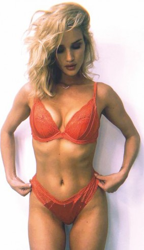 Rosie Huntington in sensational red lacy lingerie collection