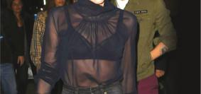 Victoria Bechkham flashes Black Lingerie Beneath a Transparent Top