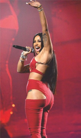Cardi Bloves Performing In Red Sexy Lingerie Looks