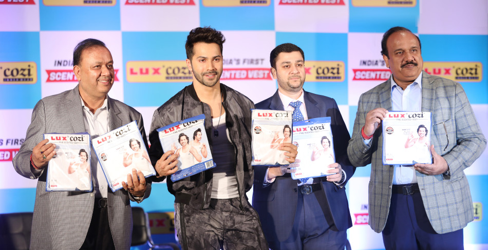 Varun Dhawan launch lux cozi new product scented vest
