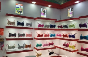 sherry lingerie bra cups showcase at bodywear exhibition
