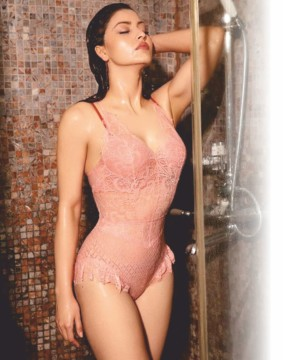 Urvashi Rautela sizzles in sexy peach lingerie in shower shots