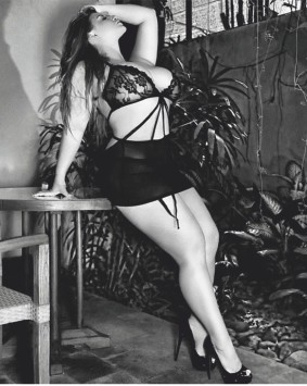 Ashley Alexiss flaunts her gorgeous curvy figure in a black sheer lingerie