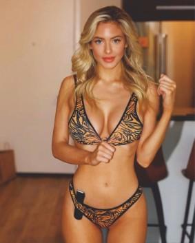 Hannah Palmer raises the temperature high in a tiger print bikini