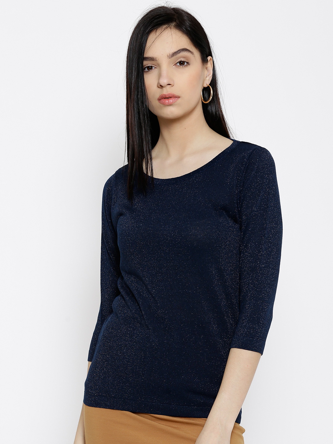 A Dark Navy Blue coloured Top Lady Poses for Fall Bloomers LNLMakeover