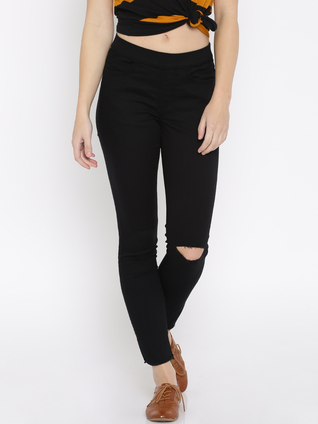 Black Skin fit Torned Jeans for Women By Lee