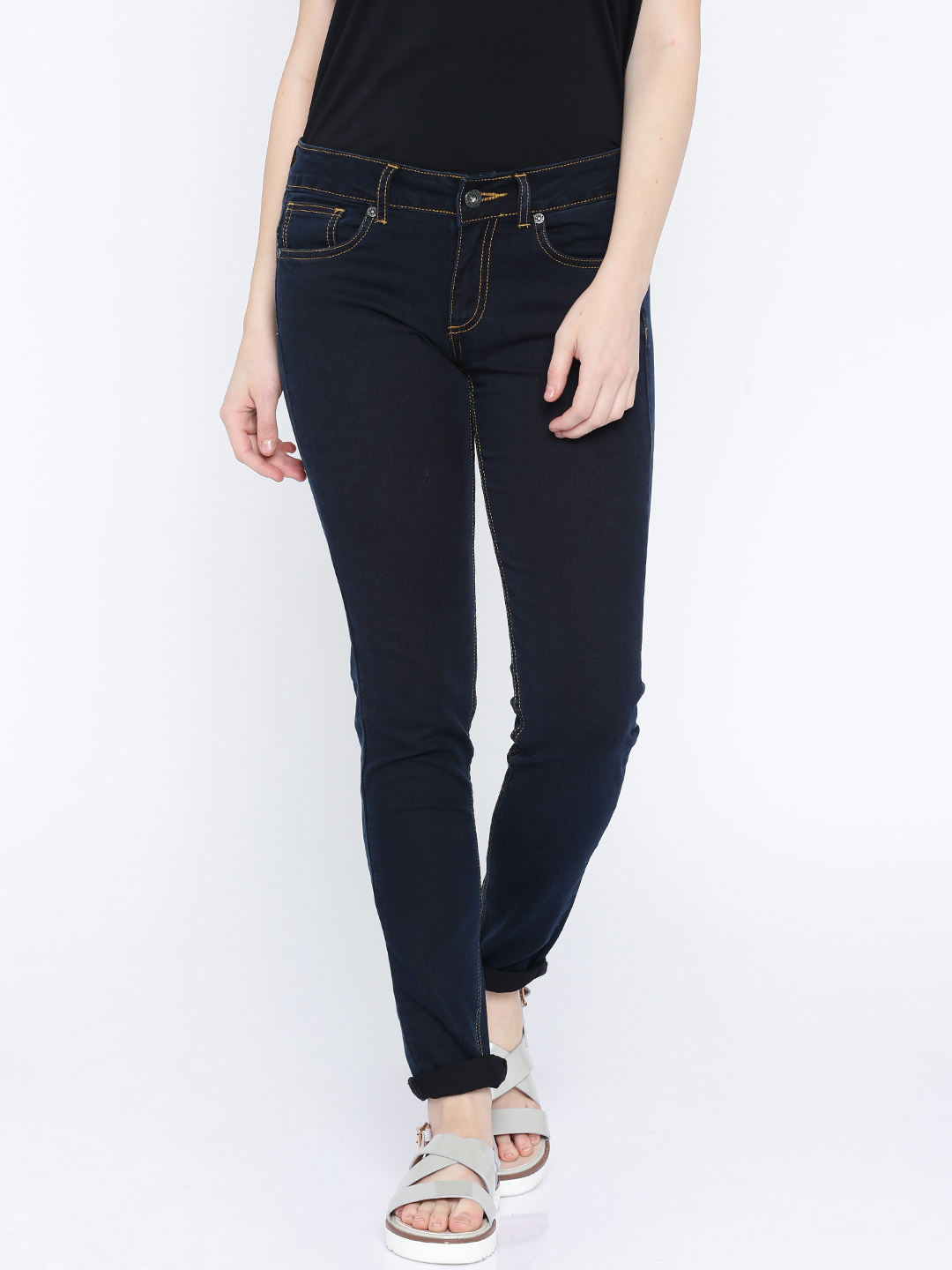 A Lady in Dark Blue Pepe Jeans Clean Look Jeans