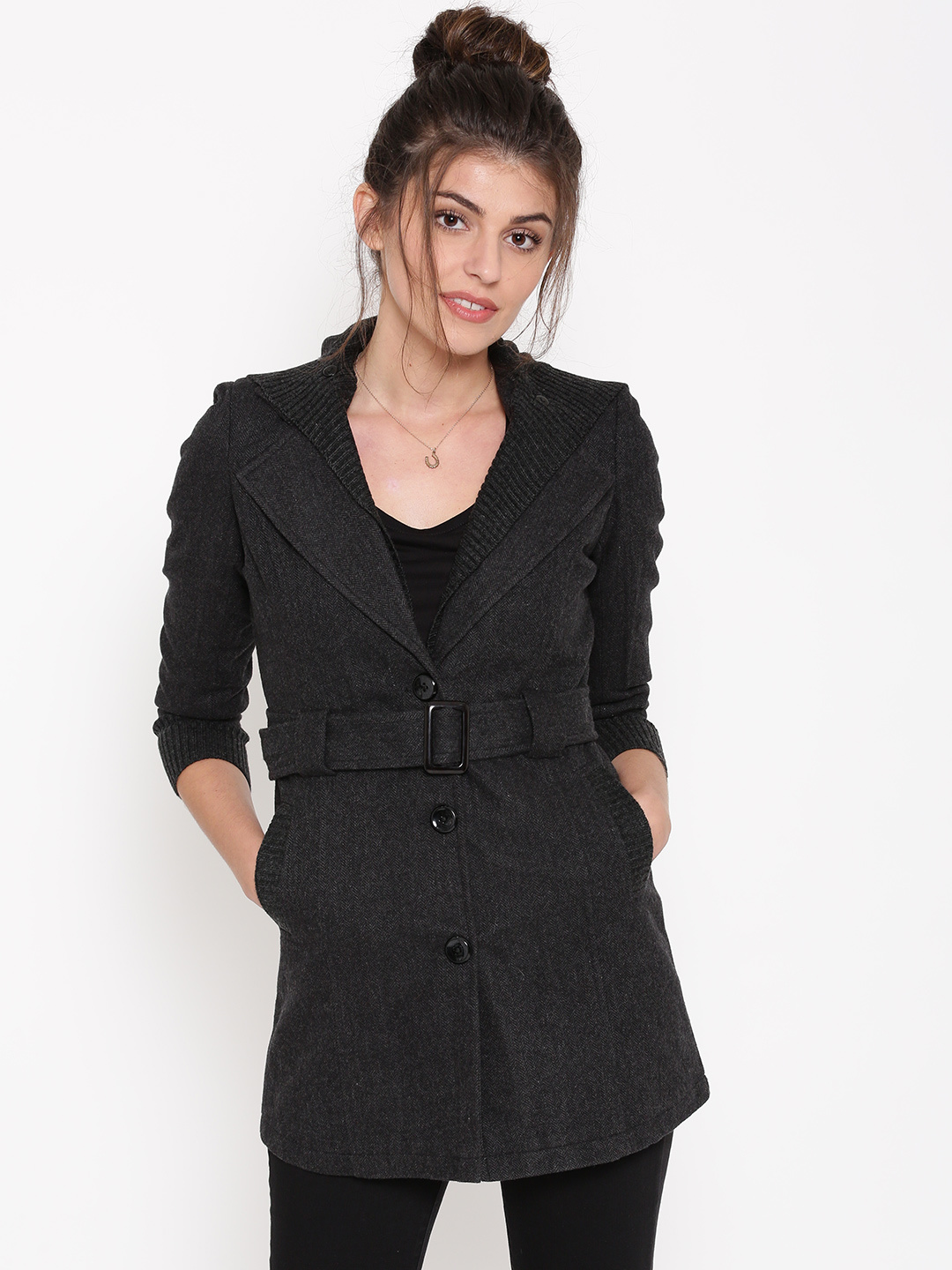 Izabel London by Pantaloons Charcoal Grey Patterned Trench Coat with Detachable Hoodie