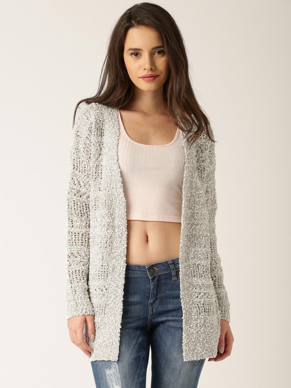 A Model Wearing Dressberry Grey White Open Knit Shrug_Lacenlingerie
