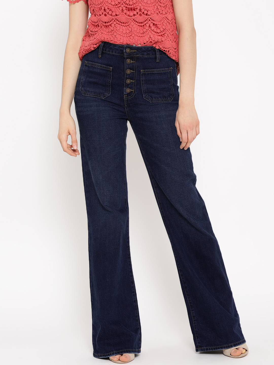 Forever 21 Women Navy Mid-Rise Clean Look Bootcut Jeans