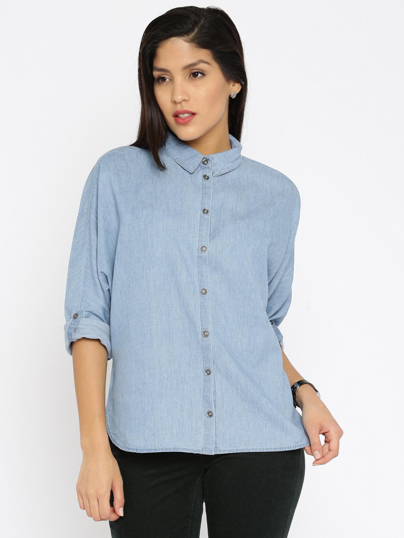Women Blue Regular Fit Solid Denim Casual Shirt
