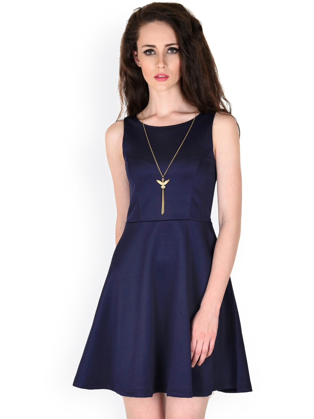 A Modal in Navy Blue Sassafras Skater Dress