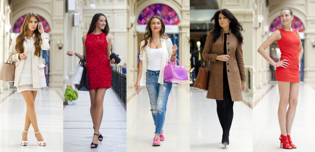 68094876 - collage five fashion young women in shop