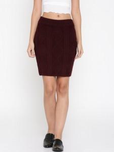 DressBerry Maroon Pencil Skirt