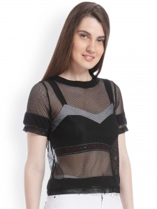 Vero Moda Women Black Mesh Sheer Top