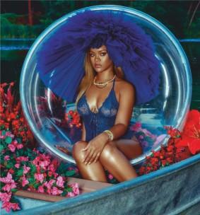 Rihanna in blue lacy lingerie