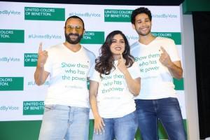 Saif Ali Khan,Bhumi Pednekar & Siddhant Charurvedi at the campaign launc...